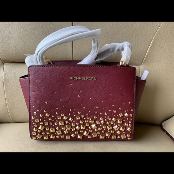 aa0c1d2350b8 Michael Kors Bags | Selma Stud Messenger Leather Crossbody Bagmerlot ...